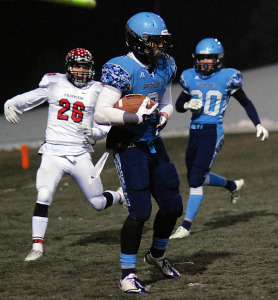 RV senior Collin Root hauled in two TDs in the Mustangs 71-29 victory over Fairview in the Class 5A state quarterfinals.