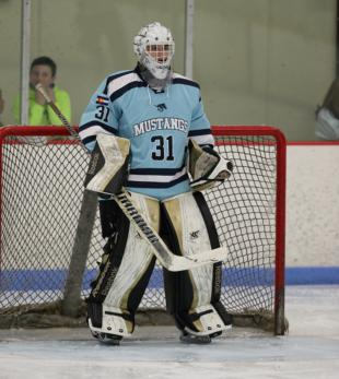 RV goalie Scott Albertoni was nearly perfect in net for the Mustangs as the two-time defending state champions won their 35th straight game