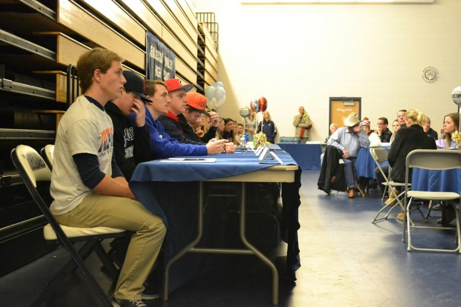 Members of the Class of 2015 who will be competing at the collegiate level in various sports prepare to sign their National Letters of Intent on Wednesday, Feb. 4, 2015