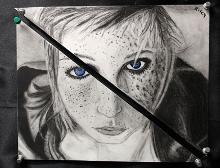 Senior Riley Knipp enjoyed the difficulty in working with a classmate who has a different artistic style than her own to create this wonderful image.