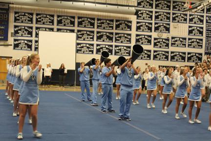 The RV Cheer Team performs at this year's Homecoming Assembly earlier this year. The squad recently returned from Nationals, earning a 6th Place finish at the event.