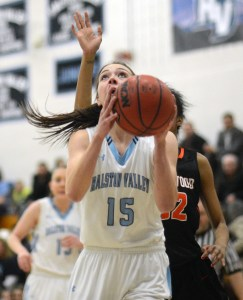 RV's Shelby Nichols looks to score against Lakewood in the Mustangs 6-point loss to the Tigers. The loss was RV's first Jefferson County loss of the season.