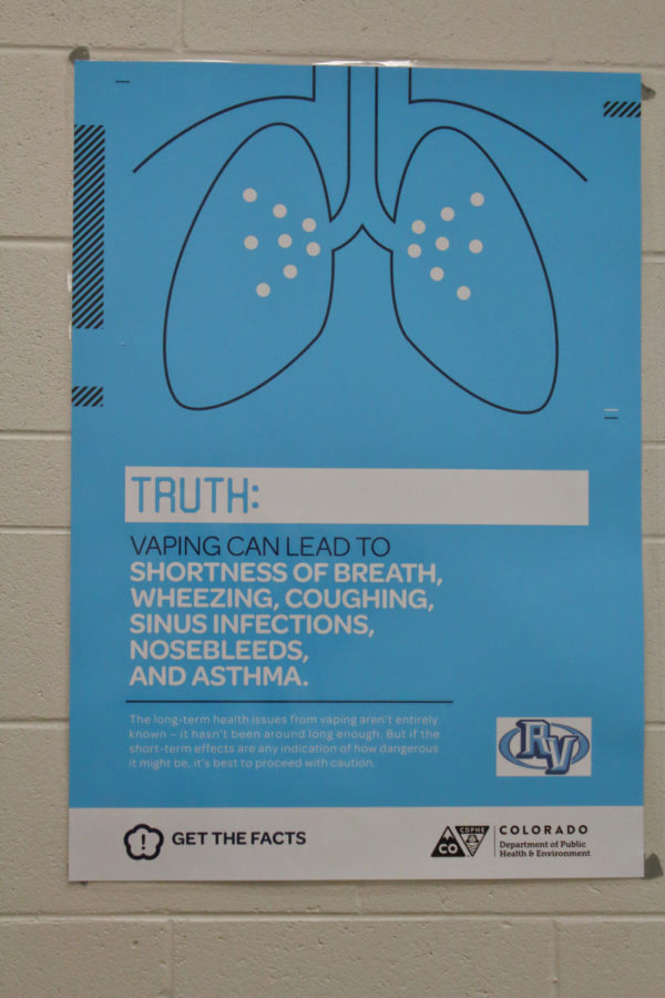 Ralston Valley has added these posters from the Colorado Department of Public Health & Environment to help deter students who may think vaping is better for the body than smoking traditional cigarettes.