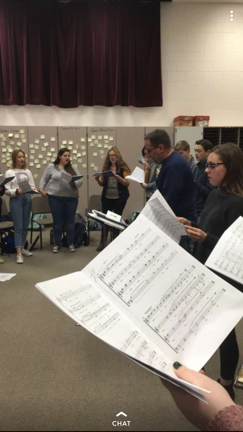 Jackson Howard captures a moment in rehearsal of the director Mr. Talley teaching new music.