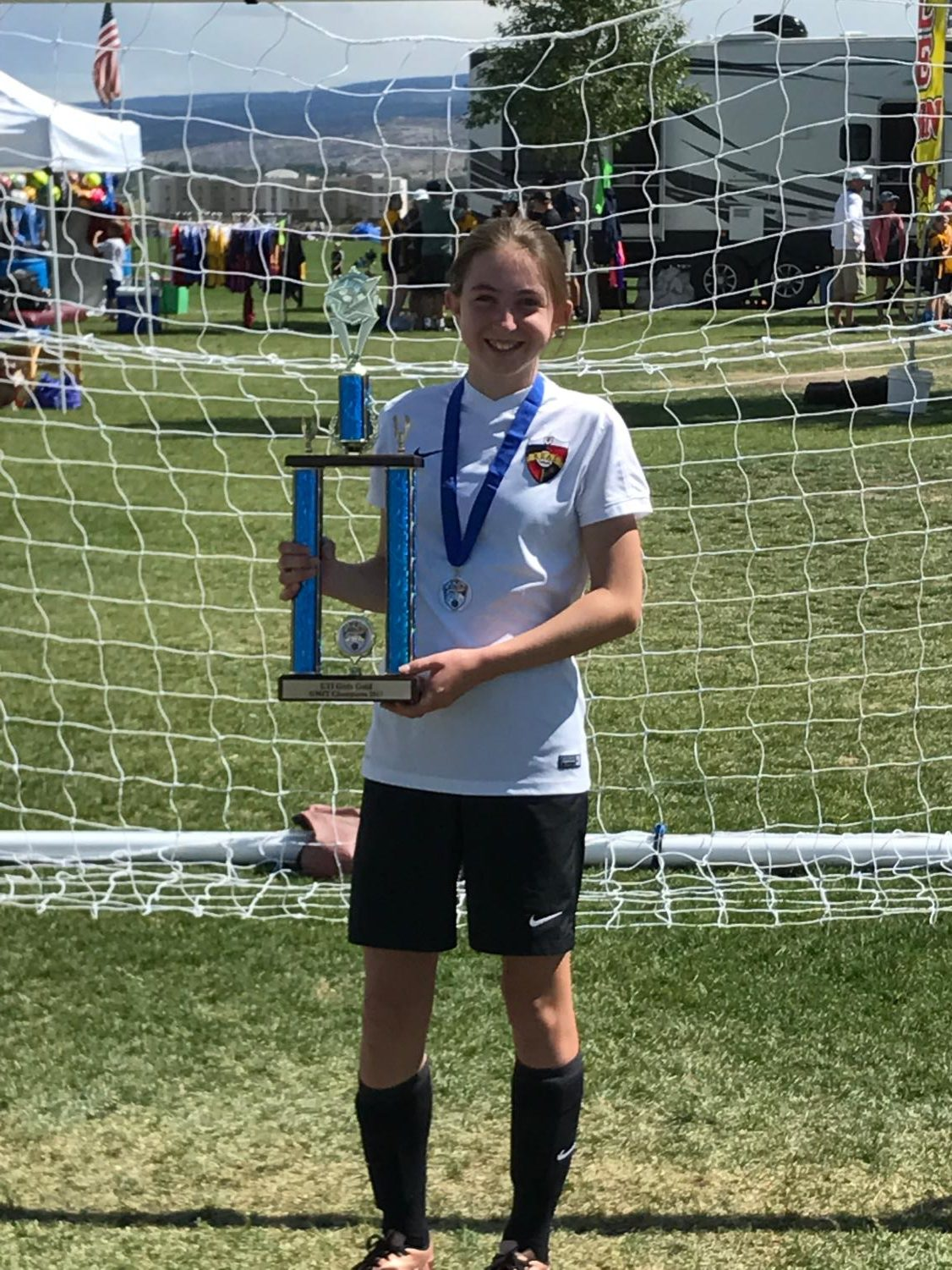 Zoe Bertino in 2016 after winning a soccer tournament. (photo by David Bertino)