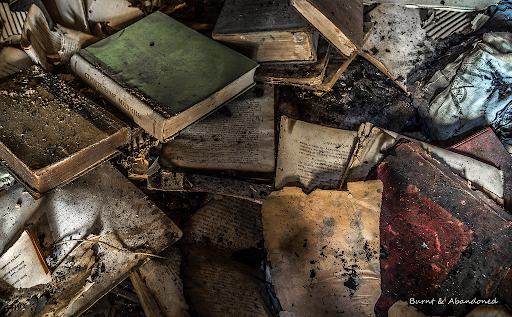 A pile of burnt books that can't teach their lesson any more.