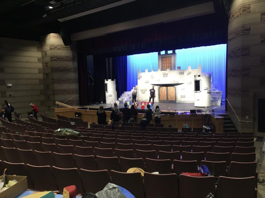 After school crew work on the school's spring musical, Spamalot.